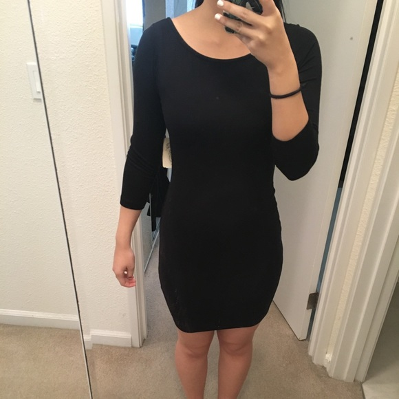7dc5f798441b Scoop Neck Long Sleeve Black Dress with Open Back. NWT. Forever 21